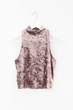 """- Dark blush velvet mock neck crop top - Size small measures approx. 17"""" in length - Fitted - Keyhole back with button closure - Soft and stretchy velvet knit material - 92% Polyester 8% Spandex - Imp"""