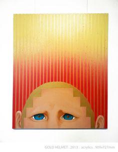 GOLD HELMET by DIREN LEE acrylics on canvas