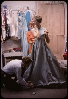 Julie Andrews during a costume fitting for Camelot. (1960)