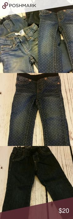 Toddler Jeans 4 pack bundle of jeans. 9/10 quality because all were only worn for short periods of time. One pair not worn at all. 2T. Polka dot are jeggings, light pair with tie front are from Old Navy and I have a dark pair of the same ones included (they are both straight leg) Light denim are from Kohls (Jumping Beans) and have never been worn. They are bootcut. Bottoms Jeans