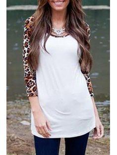 Zaful - Zaful Scoop Neck 3 4 Sleeves Leopard Print Spliced T Shirt - AdoreWe.com