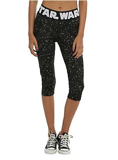 2c63685d11 Black capri leggings from Star Wars with a Fallen Night design and logo printed  waistband.