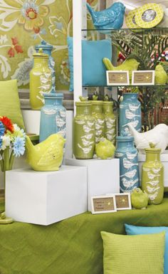 Sweet Birds Fly In Green And Blue In Stores At Ellis Home And Garden.