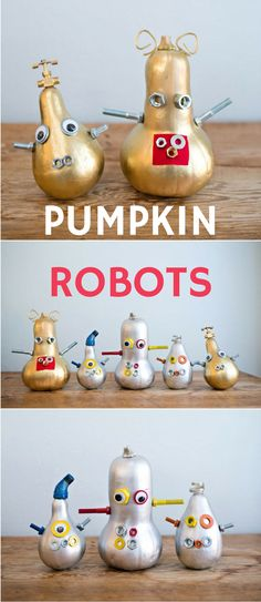 Give your pumpkins a futuristic twist this year by making these cute and quirky Halloween robots! Fun Halloween tinker project for kids.