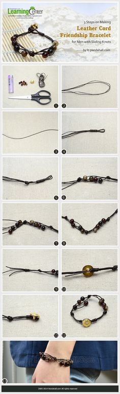 3 Steps on Making Leather Cord Friendship Bracelet for Men with Sliding Knots