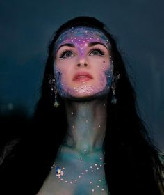 Beautiful iridescent crystal accented Mermaid inspired make-up look.