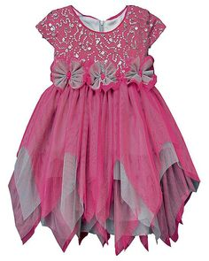 Beautiful Isobella and Chloe BELLA Magenta Gray Sequins Hanky Hem Dress (sz.2T-6x) - Color Me Happy Boutique