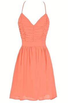 Gather Around Open Back Chiffon Dress in Orange