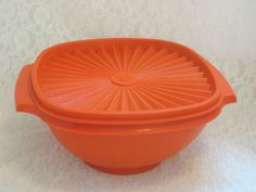 """#VintageTupperware 7"""" Servalier Bowl Orange #StorageContainer"""
