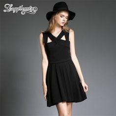 European Style Sexy Halter Dress 2016 Summer New Fashion Sleeveless V-Neck Black Dress Solid Knee-Length A-Line Women Dress