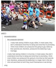 Omg at first I was mad but then.. Well, read the whole thing. Also, I am pretty sure the little boy holding the flag is also holding his dad's hand, who is walking with a man in a matching outfit. Seems to me they used a photo of a gay couple and their kid for this post. Fail.