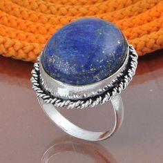 925 por mayor de hermoso anillo de plata colgantes recubiertos de la India tachonado con Lapis tamaño 8,00 nos peso 9.20 gm joyas de piedras