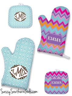 Monogrammed Oven Mitt, Personalized Kitchen Accessories, Monogrammed Pot Holder, Personalized Oven Mitt, Monogrammed Gift,  Kitchen Gift by SassySouthernGals on Etsy https://www.etsy.com/listing/241631642/monogrammed-oven-mitt-personalized