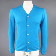 COMME des GARCONS Size L Aqua Blue Wool V Neck Cardigan
