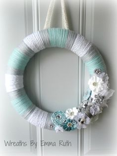 Tiffany Blue White and Gray Yarn Wreath with by WreathsByEmmaRuth