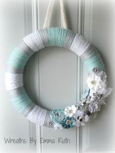 Tiffany Blue White and Gray Yarn Wreath with by WreathsByEmmaRuth