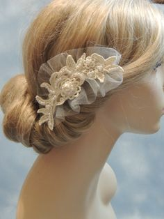 Bridal hair accessories wedding ivory hair by svitlanasbridalveils