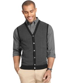 Van Heusen Big and Tall Houndstooth Button-Down Vest