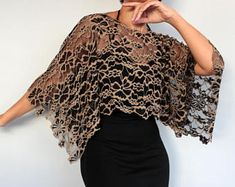 Beige Black Lace Shrug Elastic Bolero Capelet, Mother of Bride Fashion Shawl, Evening Dress Cover Up Special Occasion Wedding Lace Top Tunic - lace things Lace Shrug, Bolero Top, Lace Tunic, Silk Shawl, Wedding Dress Capelet, Bridal Bolero, Bridal Lace, Evening Shawls, Lace Evening Dresses