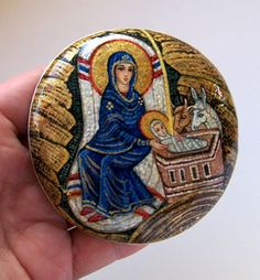 Gallery.ru / Фото #29 - Рождество - Triss Pebble Painting, Stone Painting, Diy Painting, Religious Icons, Religious Art, Writing Icon, Religion Catolica, All Saints Day, Byzantine Art