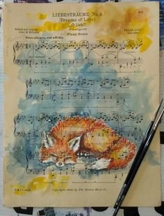 Sleeping fox watercolor on sheet music.  $125  Dreams of Love by fine artist Kit Sunderland  www.kitsunderland.com or https://www.facebook.com/pages/Kit-Sunderland-Fine-Artist/141759050719?ref=hl