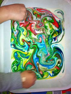 Milk and food colouring - make great patterns