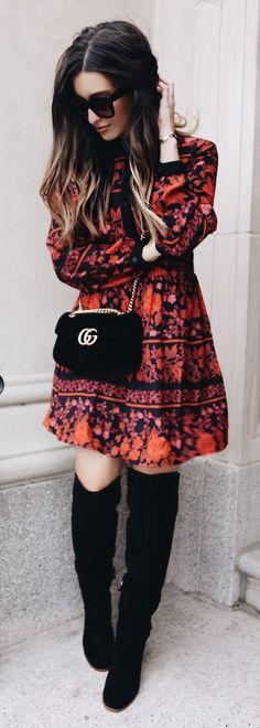 #winter #fashion /  Printed Dress + Black Shoulder Bag + Black OTK Boots