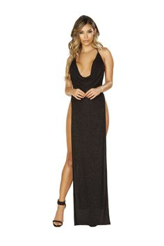 33a2eb7fe81 3665 - Glittery Shimmer Cowl Neck Maxi Length Dress with High Slits. Maxi  Dress With SlitClub DressesLong DressesBlack FabricHalter ...