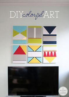 Colorful Art DIY, PLUS more Inexpensive Art Ideas.