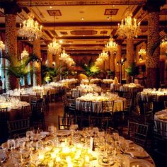 love the warm lighting. Warm light from the candles and chandeliers lent a romantic vibe to the party, while tall fern frond centerpieces added an unusual tropical twist.