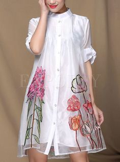Shop for high quality Loose Organza Embroidery Dress online at cheap prices and discover fashion at Ezpopsy.com
