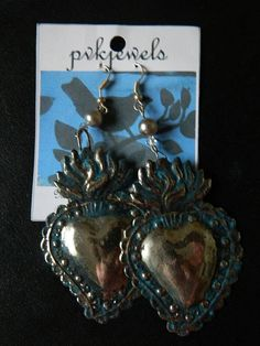 Silver Heart dangle earrings with Turquoise patina
