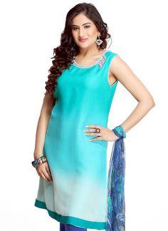 $71 #Fabulous #Turquoise #Shaded #Georgette #Kurti