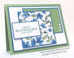 Stamp Sets:  Flower Patch  Papers:  Wild Wasabi, Pacific Point, Whisper White, Painted Blooms Designer Series Paper  Inks:  Pacific Point  Accessories:  Neutrals Candy Dots (Whisper White), Stampin' Dimensionals
