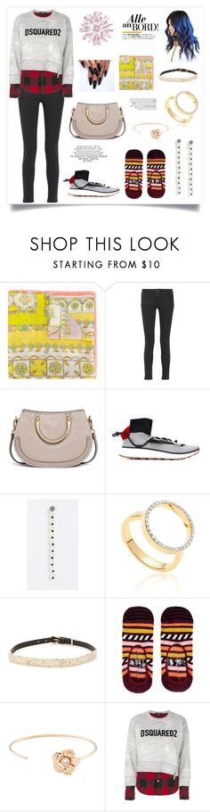 """Logo Sweatshirt..**"" by yagna on Polyvore featuring Emilio Pucci, Pierre Balmain, Marc Jacobs, Monica Vinader, Alexis Bittar, Happy Socks, FerrariFirenze, Gwyneth Shoes and Dsquared2"