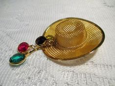 Cowboy Hat Brooch with Rhinestone Dangles Mesh Gold tone