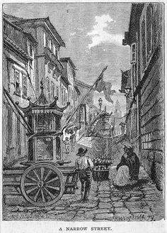 Desenho de vendedores de rua em uma viela no Rio de Janeiro. Por Bwiegandt em 1879 - Drawing of street sellers in a narrow street of Rio de Janeiro, Brazil. By B. Wiegandt 1879.