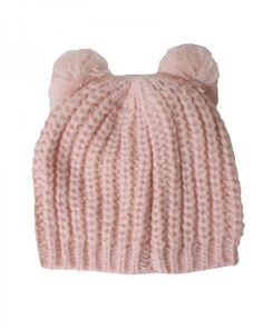 D&Y Solid Knit With Two Pom Pom Beanie Hat