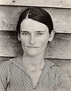 Walker Evans photograph- Allie Mae Burroughs, wife of cotton sharecropper. Hale County, Alabama.  This photo was considered a symbol of the Great Depression.