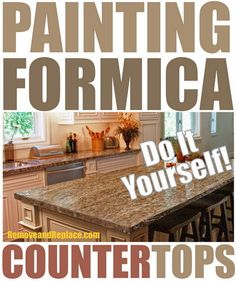 Whether your countertop is formica or laminate, here are a few different approaches on painting them. Old countertops can be ugly and dated, but now there are moderately easy ways to update them in one weekend. Can You Paint Formica, Painting Formica Countertops, Formica Cabinets, Countertop Makeover, Bathroom Countertops, Granite Countertops, Epoxy Countertop, Countertop Covers, Countertop Transformations