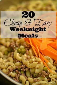 Cheap & Easy Weeknight Meals Need cheap and easy meals for your busy weeknights? These 20 meal options are delicious and frugal!Need cheap and easy meals for your busy weeknights? These 20 meal options are delicious and frugal! Cheap Easy Meals, Inexpensive Meals, Cheap Dinners, Easy Weeknight Meals, Frugal Meals, Cheap Food, Cheap Family Meals, Tasty Meals, Freezer Meals