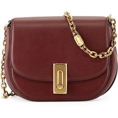 Marc Jacobs West End The Jane Saddle Bag (3,370 SAR) ❤ liked on Polyvore featuring bags, handbags, shoulder bags, rubino, chain strap purse, red handbags, red purse, chain shoulder bag and marc jacobs purse