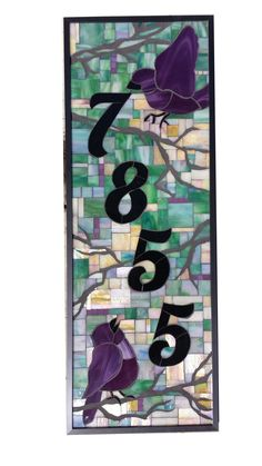 Custom House Number Stained Glass Mosaic by Sequential Glass Art Mosaic