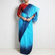 Blue & Black Handloom Cotton Silk  Sari With Temple Design On Border & Pallu