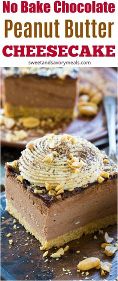 Chocolate Peanut Butter Cheesecake with no cracks or cooking time, because this delicious cheesecake is no bake with an amazing creamy texture. #cheesecake #nobake #peanutbutter #chocolate