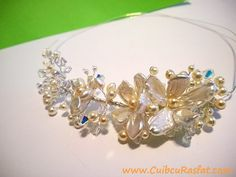 wedding hair piece  - made with natural freshwater and biwa pearls and swarovsky elements