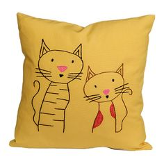 cats pillow / embroidered pillow cover / natural / por NIARMENA