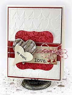 Lovely Embossed Love Card...with hearts & baker's twine.