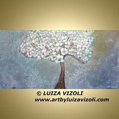 Original Large Painting FLOWERING TREE in the by LUIZAVIZOLI
