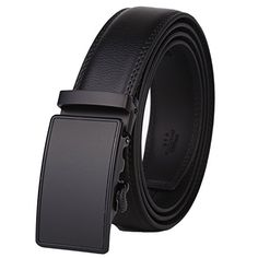 Dante Men's Real Leather Ratchet Dress Belt with Automatic Buckle-Elegant Gift Box(Black/Frosted Black Buckle with Black Leather)